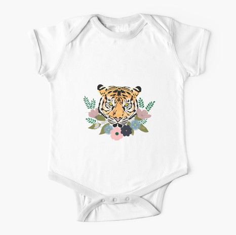 Floral Tiger Short Sleeve Baby One-Piece