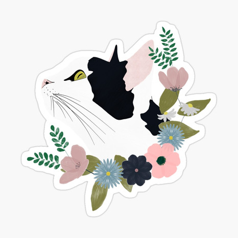 Floral Cat Glossy Sticker