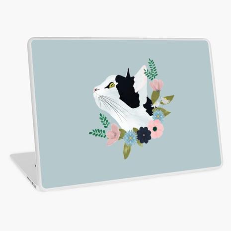 Floral Cat Laptop Skin