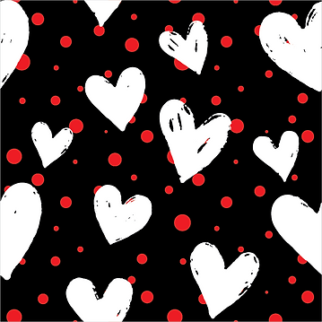 White Hearts & Red Polka
