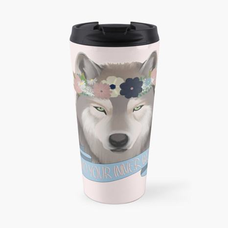 Floral Wolf - Find Your Inner Wolf Travel Mug