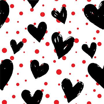 Black Hearts & Red Polka