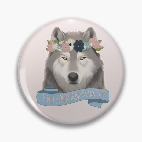 Floral Wolf - Find Your Inner Wolf Pin