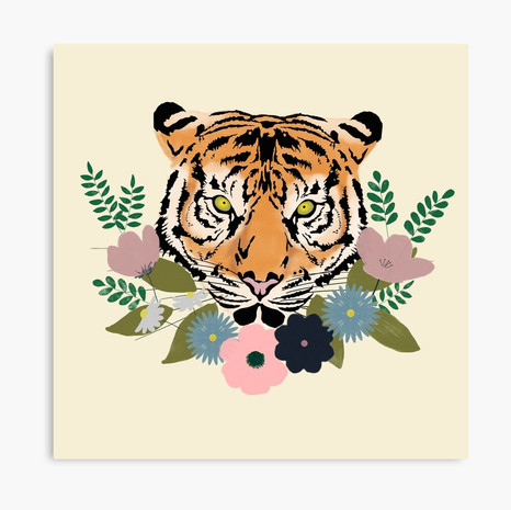 Floral Tiger Canvas Print