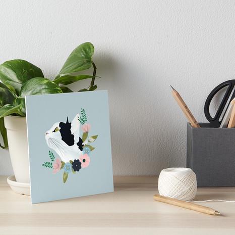 Floral Cat Art Board Print