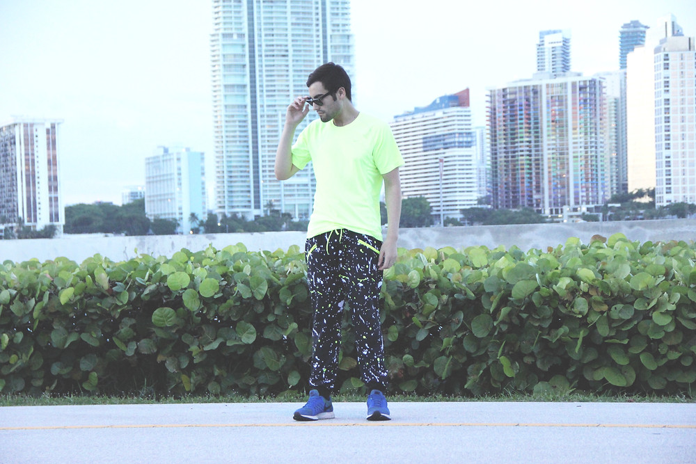 ​ ​​  ​​ ​​  ​Juanjose Rangel running the Key Biscayne bridge with Miami skyline