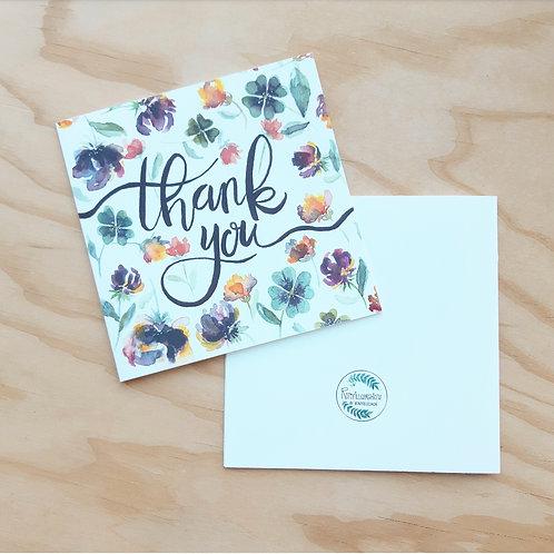 'Thank you floral' Gevouwen kaart vierkant