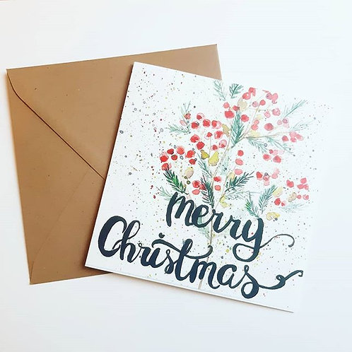 'Merry Christmas stippen' Gevouwen kaart vierkant