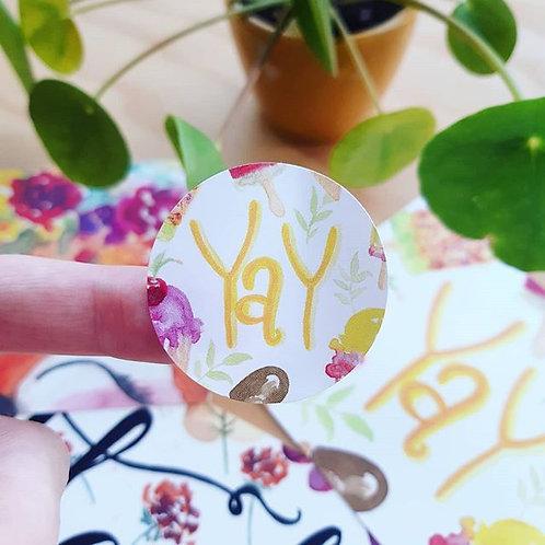 'YAY' Sticker rond per 4 stuks