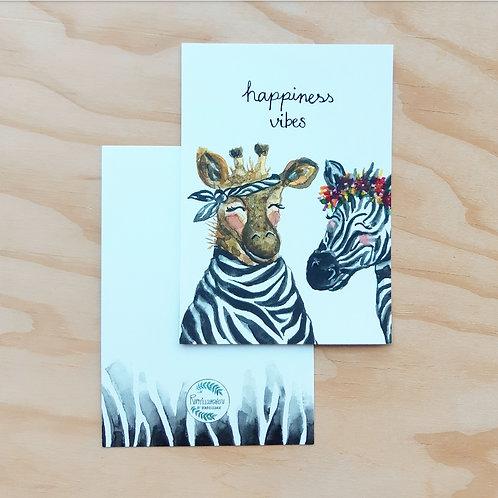 'Giraffe en zebra Happiness' Ansichtkaart A6