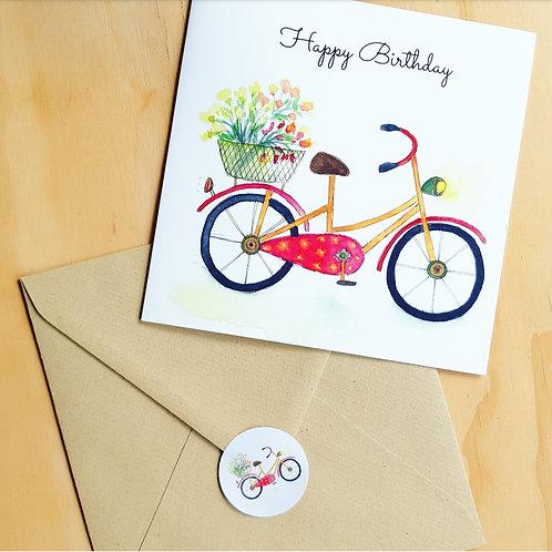 'Fietsje happy birthday' Gevouwen kaart vierkant