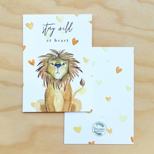 'Leeuw stay wild' Ansichtkaart A6