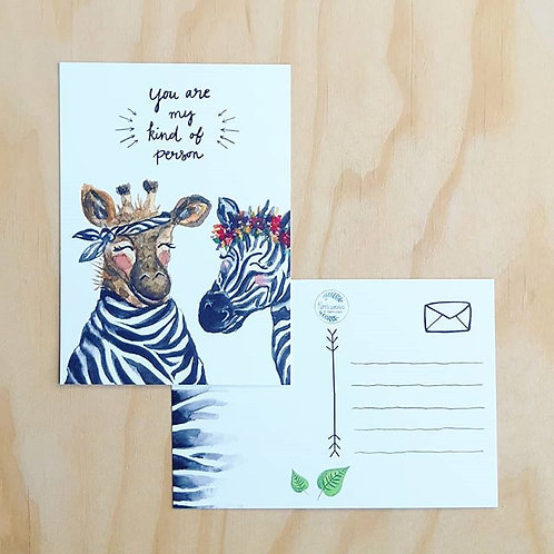 'Giraffe en zebra You are my kind' Anisichtkaart A6