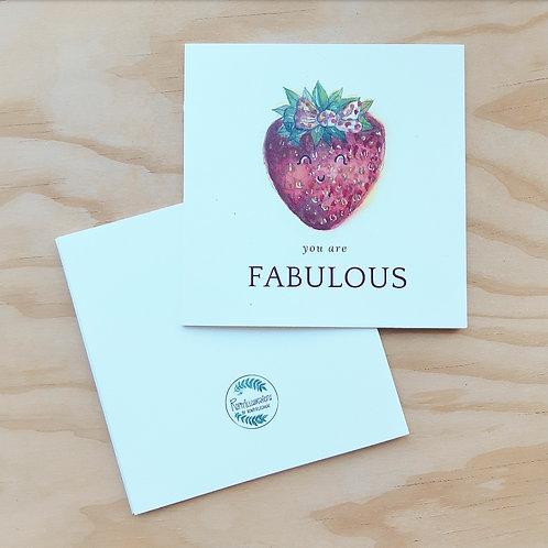 'Aardbei fabulous' Gevouwen kaart vierkant