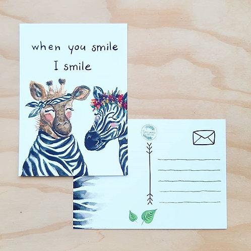 'Giraffe en zebra SMILE' Ansichtkaart A6