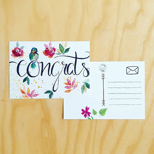 'Floral congrats' Ansichtkaart A6
