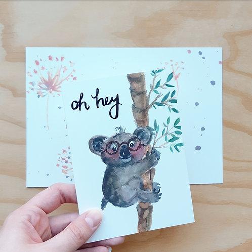 'Oh hey Koala' Gevouwen kaart A6