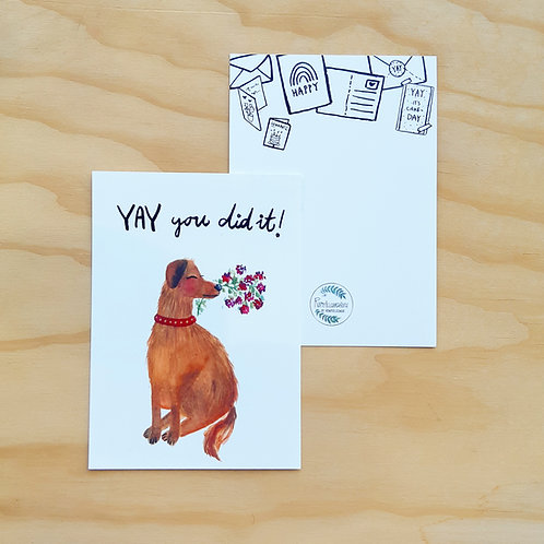 """'Hondje YAY you did it"""" Ansichtkaart A6"""