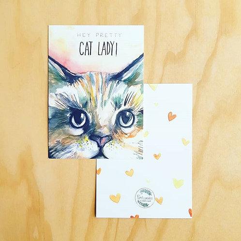 'Pretty catlady' Ansichtkaart A6