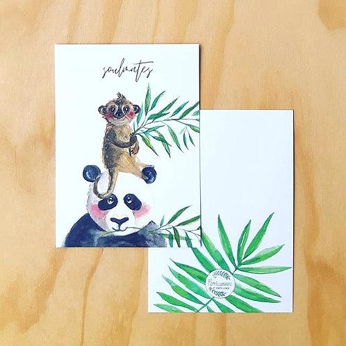 'Panda en stokstaartje soulmates' Ansichtkaart A6