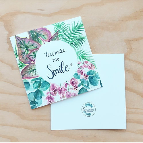 'You make me smile' Gevouwen kaart vierkant
