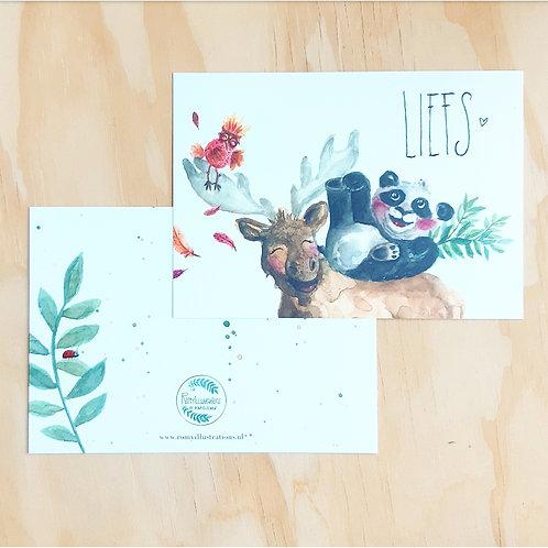 'Panda & Moose LIEFS' Ansichtkaart A6