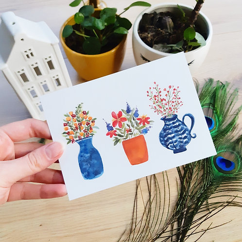 'Drie plantjes' Ansichtkaart A6