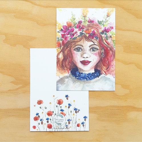 'Flowergirl' Ansichtkaart A6