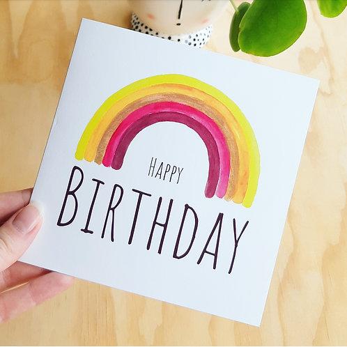 'Regenboog HAPPY BIRTHDAY' Gevouwen kaart vierkant