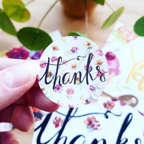 'Thanks!' Sticker rond per 4 stuks