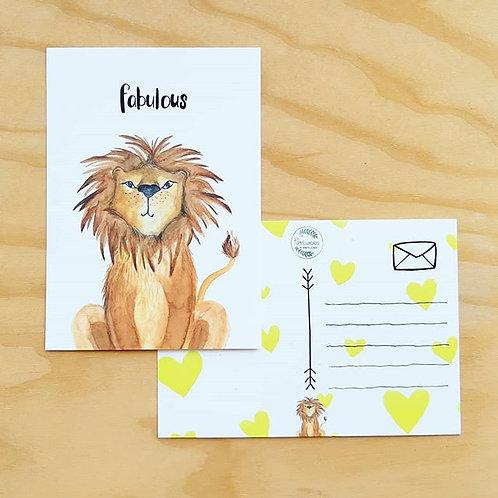 'Fabulous leeuw' Ansichtkaart A6