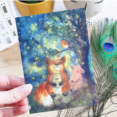 'Fireflies' Ansichtkaart A6