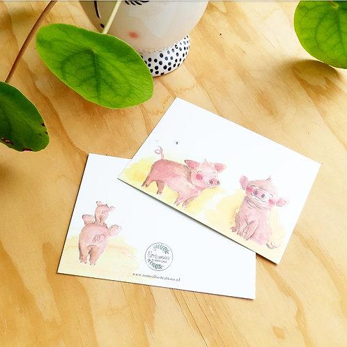 'Piggys' Anisichtkaart A6