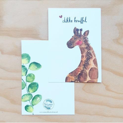 'Giraffe dikke knuffel' Ansichtkaart A6