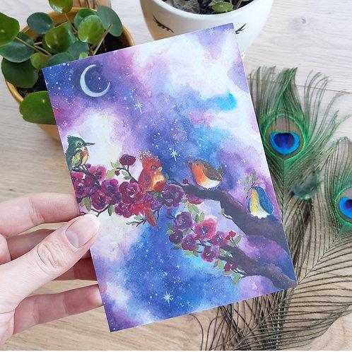 'Galaxy birds on the roses' Ansichtkaart A6