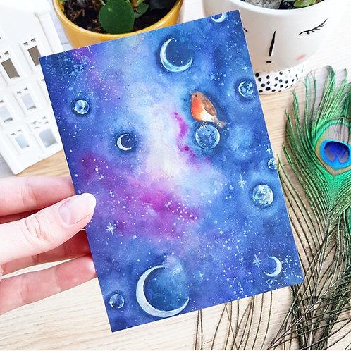 'Galaxy over the moon' Ansichtkaart A6