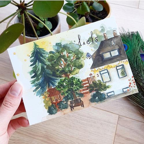 'Liefs bij het huis' Ansichtkaart A6