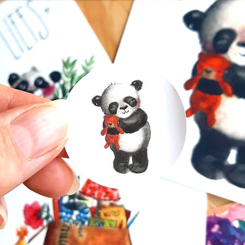 'Panda' Sticker rond per 4 stuks