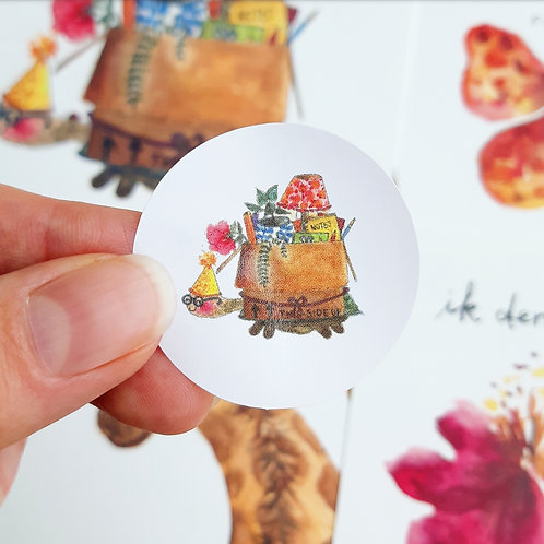 'Schildpad' Sticker rond per 4 stuks