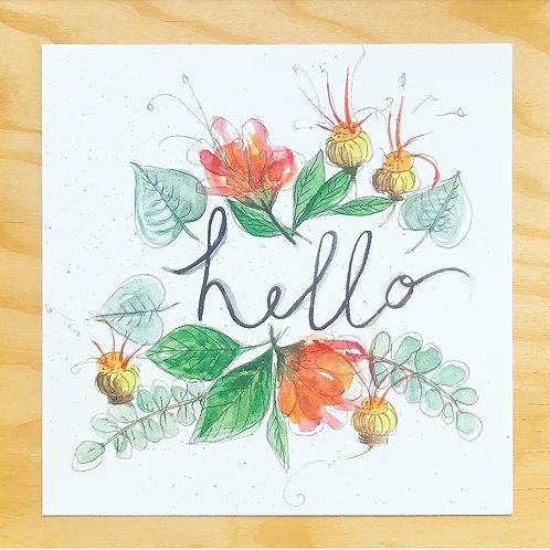 'Hello floral' Mini poster vierkant