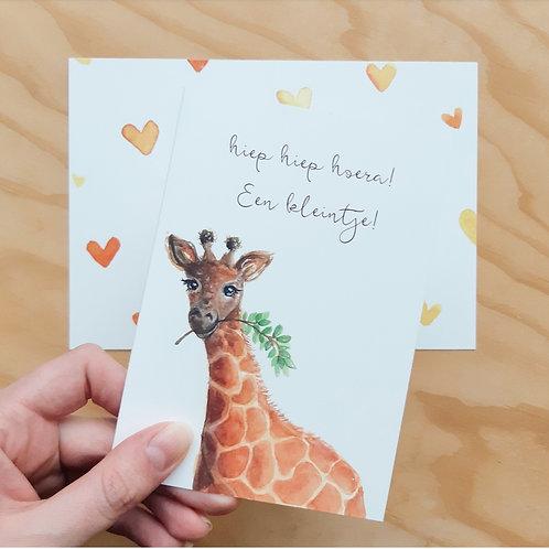 'Giraffe hoera een kleintje!' Gevouwen kaart A6