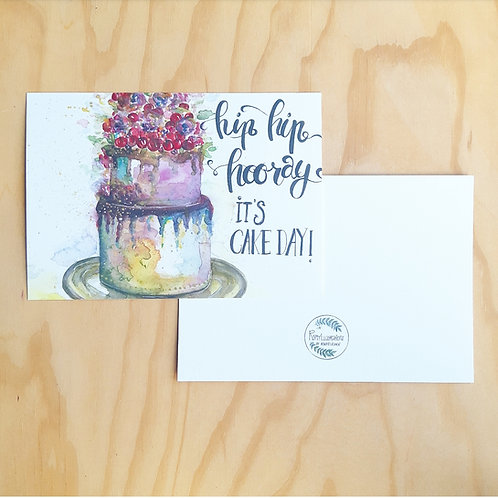 'Hooray cake day' Mini poster A5