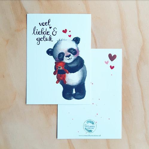 'Knuffelpanda Liefde en geluk' Ansichtkaart A6