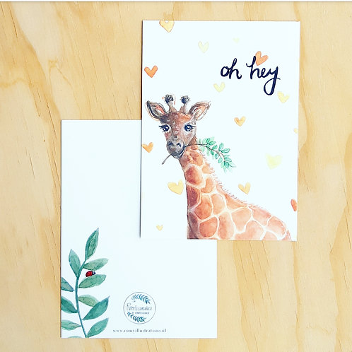 'Giraffe Oh Hey!' Ansichtkaart A6