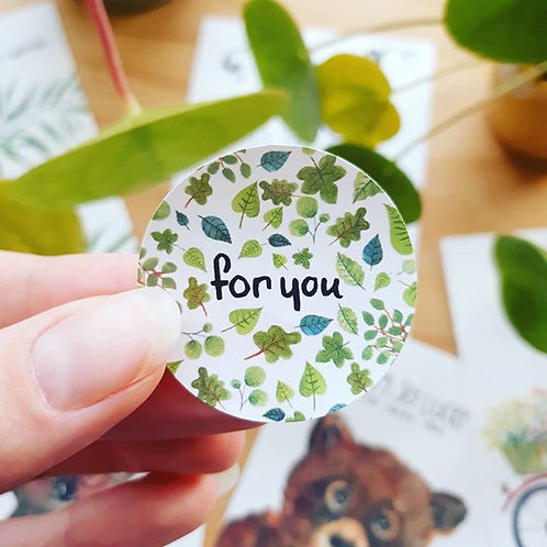 'For you' Sticker rond per 4 stuks