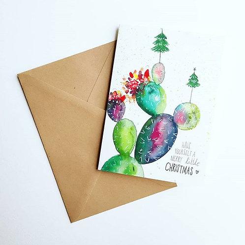 'Merry little christmascactus' Gevouwen kaart A6
