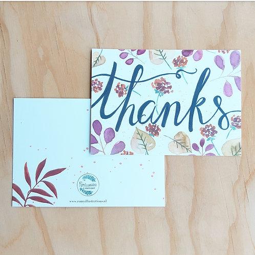 'Thanks floral' Ansichtkaart A6