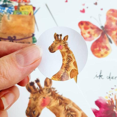 'Giraffe' Sticker rond per 4 stuks