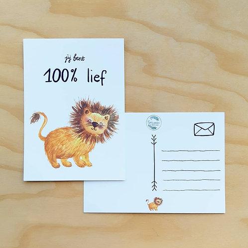 """'Kleine Leeuw 100% lief"""" Ansichtkaart A6"""
