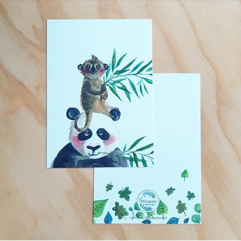 'Panda en stokstaartje blanco' Ansichtkaart A6